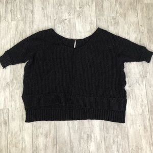 Free People Black V Neck Knit Sweater